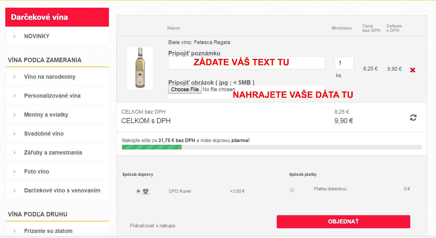 Darčekové vína a zlaté šampanské nahranie dát